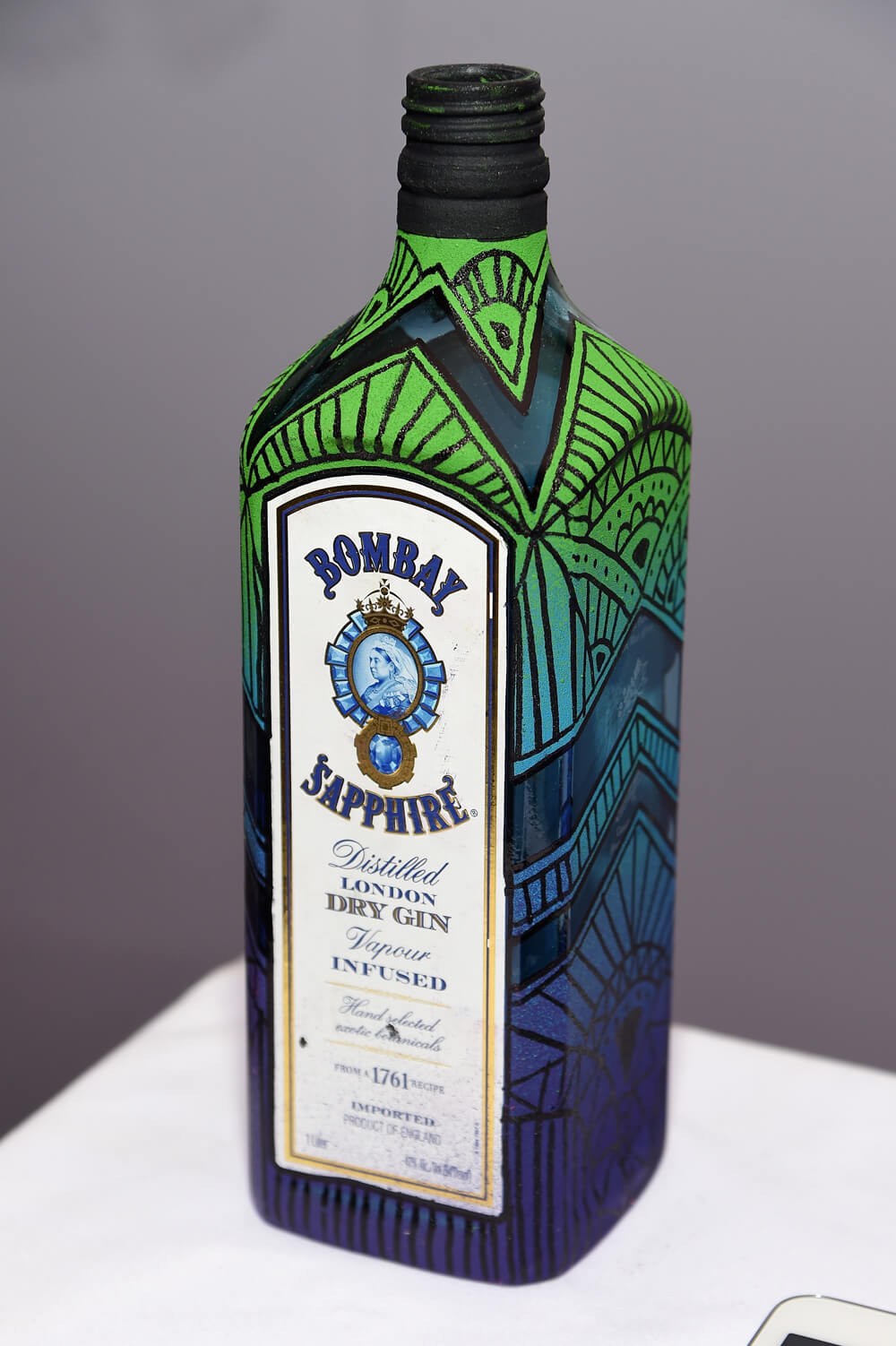 Artfully designed BOMBAY SAPPHIRE bottle in celebration of the 5th Annual BOMBAY SAPPHIRE Artisan Series Finale during SCOPE Miami Beach