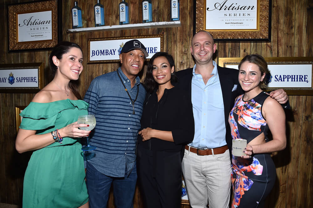 Victoria Perez (Senior Brand Manager, BOMBAY SAPPHIRE Gin), Russell Simmons, Rosario Dawson, Ned Duggan (Brand Managing Director, VP BOMBAY SAPPHIRE Gin), Maria Dao (Assistant Brand Manager, BOMBAY SAPPHIRE Gin)